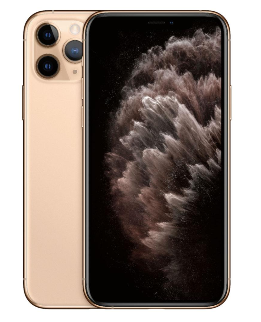 A rose gold iPhone 11 on display