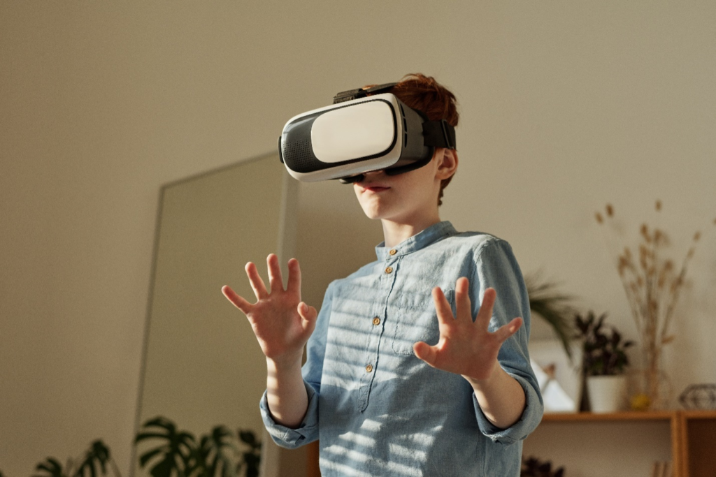 A child using a VR headset